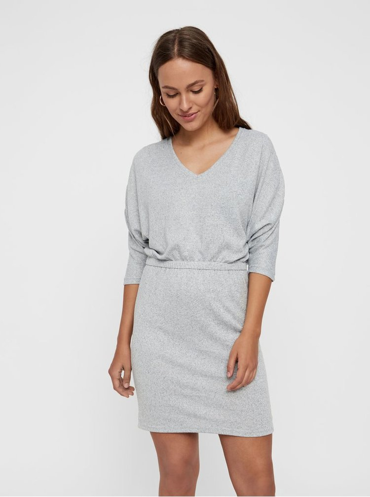Světle šedé žíhané šaty s 3/4 nabíraným rukávem Noisy May Metropol