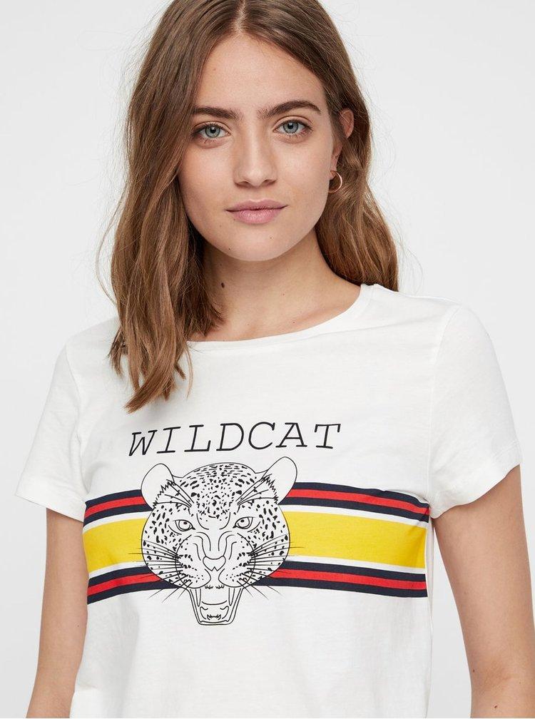 Krémové tričko s potlačou leoparda Noisy May Nate