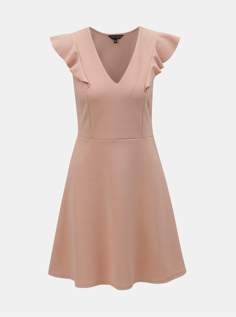 Svetloružové šaty s volánom na rukávoch Dorothy Perkins