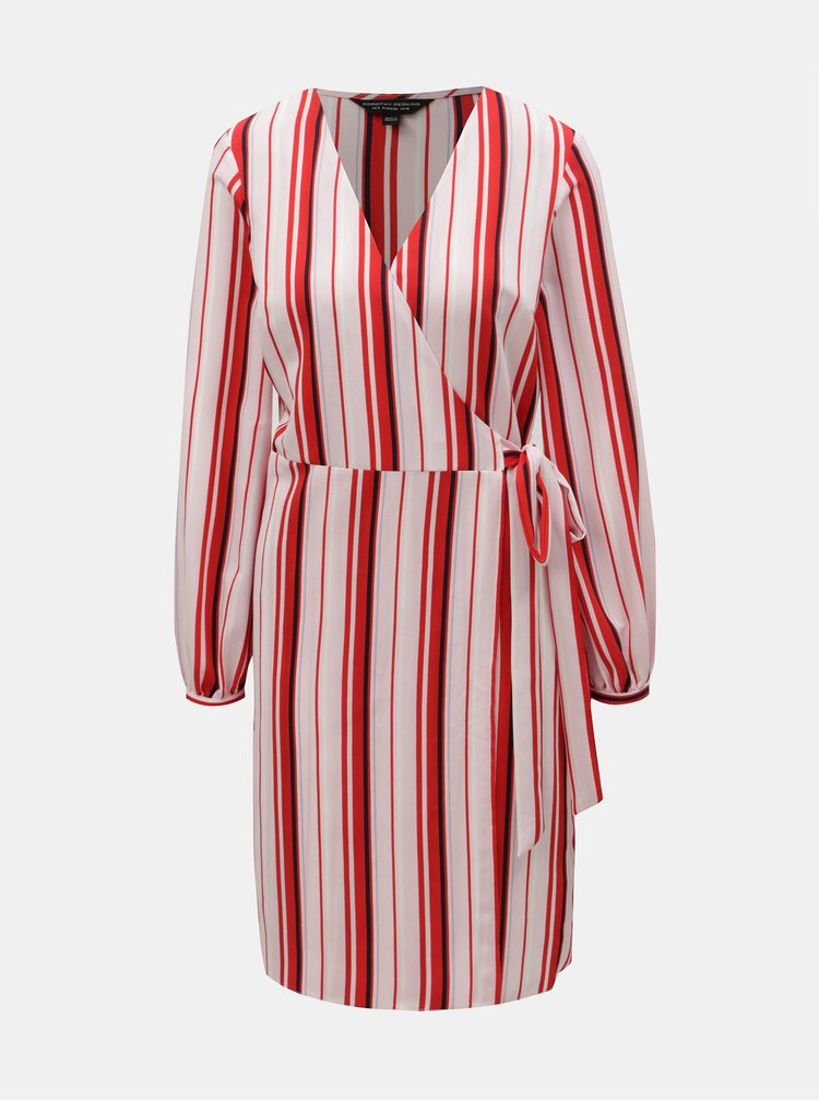 Červeno-růžové pruhované zavinovací šaty Dorothy Perkins