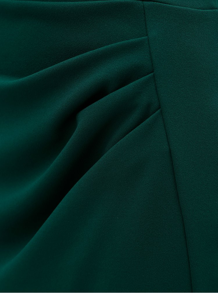 Tmavě zelená sukně s řasením na boku Dorothy Perkins