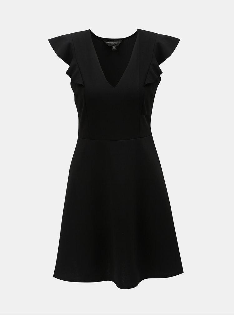 Rochie neagra cu volane pe maneci Dorothy Perkins