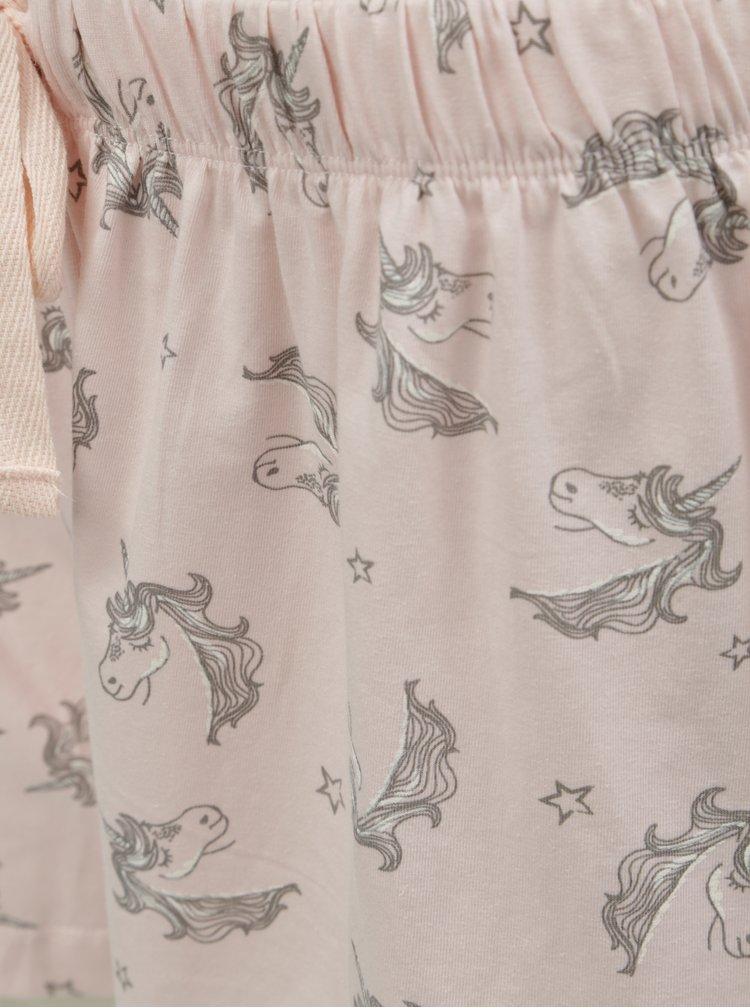 Šedo-růžové dvoudílné pyžamo s motivem jednorožců Dorothy Perkins