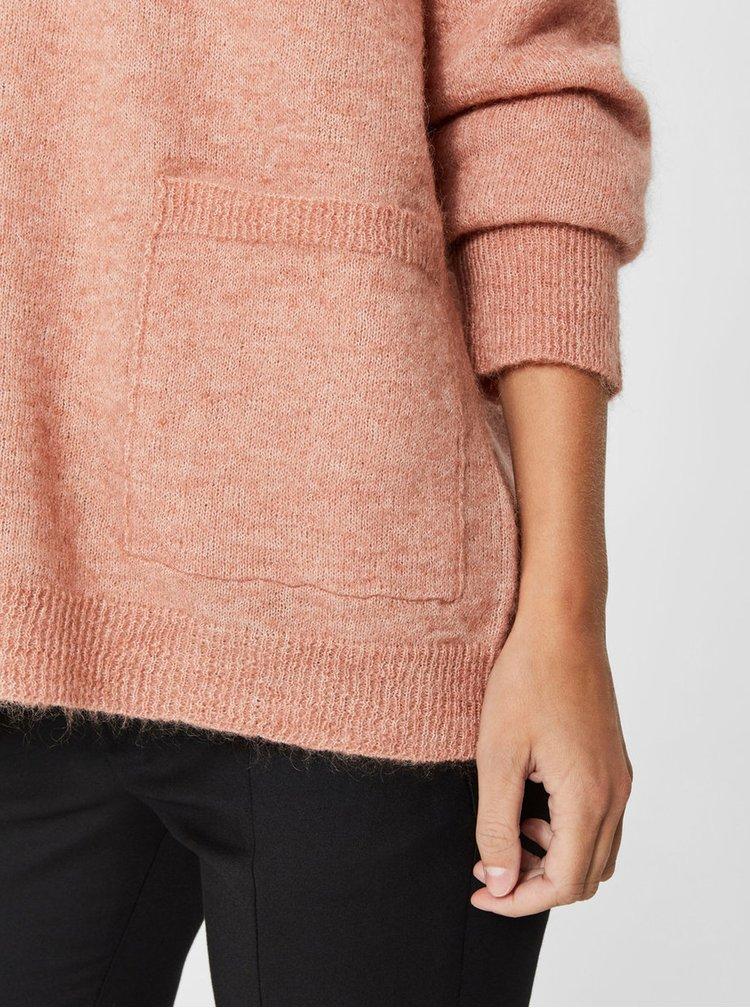 Pulover roz lejer cu amestec de lana Selected Femme Livana