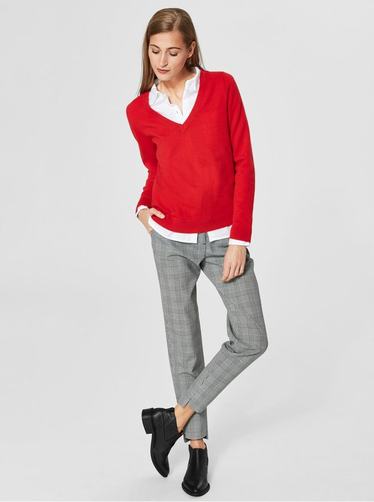 Červený kašmírový basic svetr Selected Femme Faya