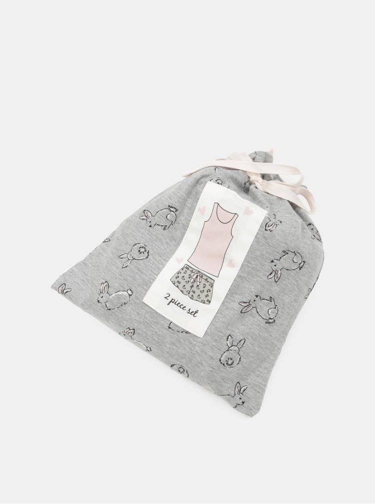 Pijama din 2 piese gri-roz cu motiv iepure Dorothy Perkins