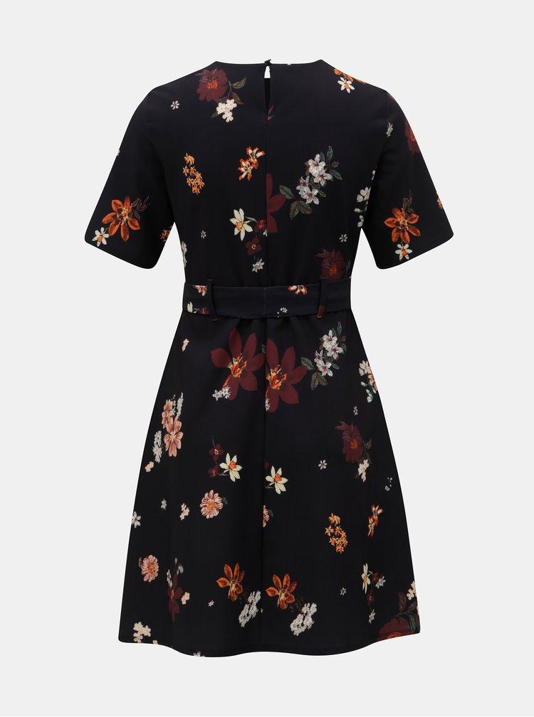 Tmavomodré kvetované šaty Dorothy Perkins Petite
