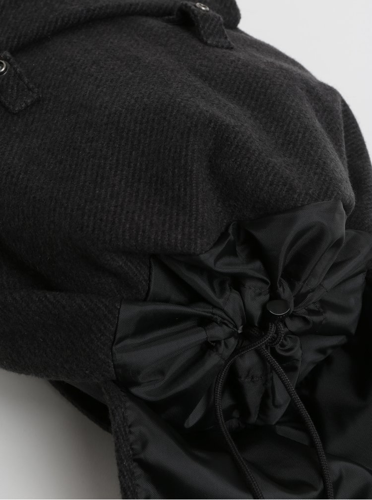 Rucsac gri inchis cu detalii din piele intoarsa Eastpak Fleather 21 l