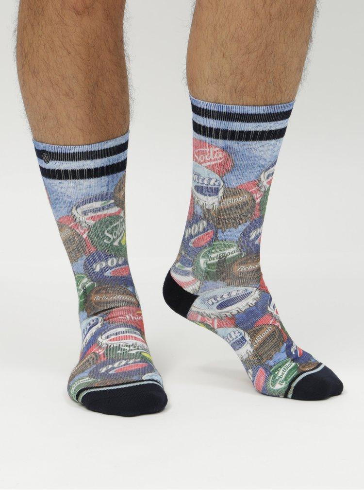 Zeleno-modré pánské ponožky s motivem zátek XPOOOS