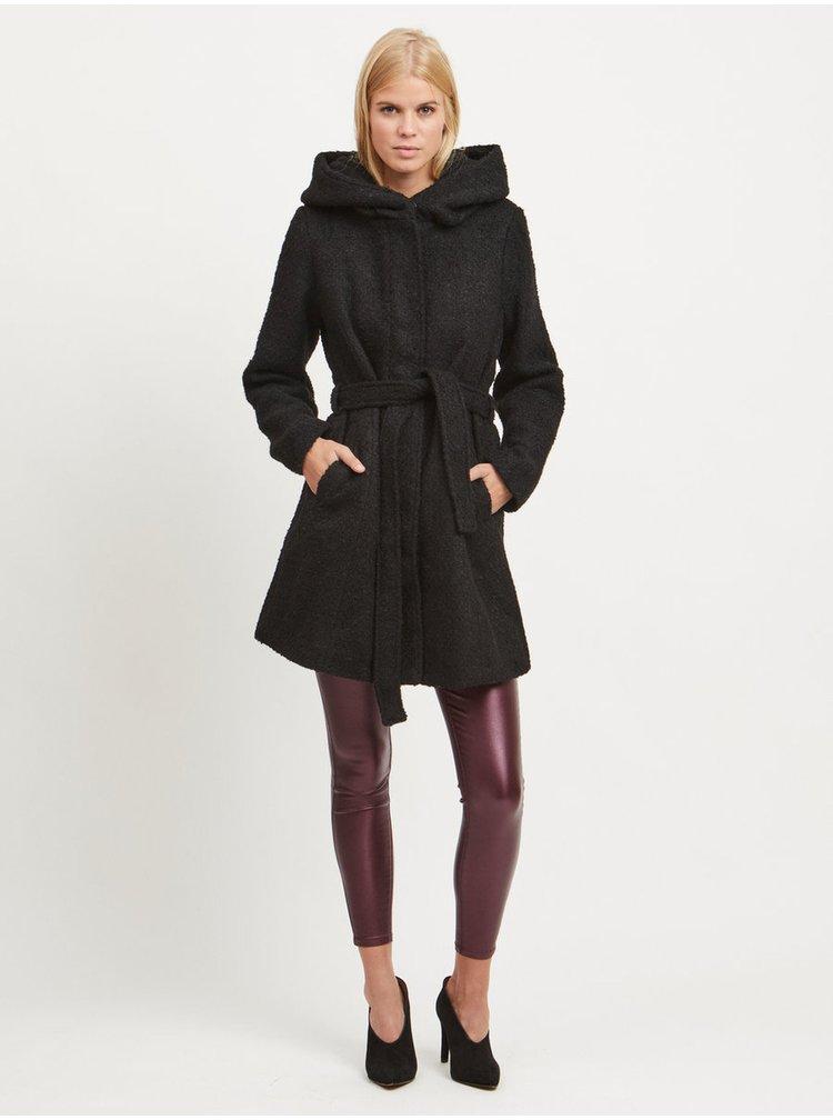 Černý zimní kabát s příměsí vlny a s kapucí VILA Cama