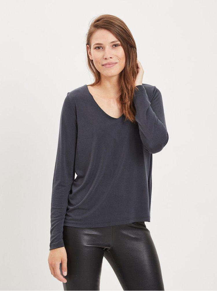 Tmavosivé tričko s dlhým rukávom VILA Triny