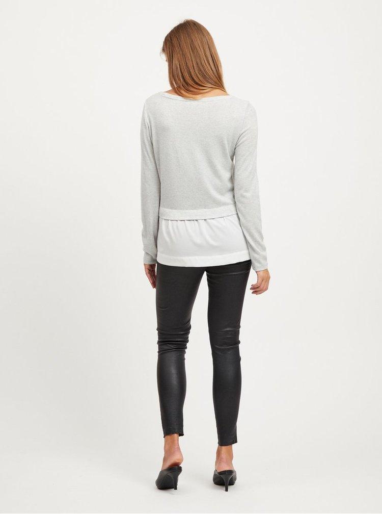 Top gri deschis cu bluza cusuta VILA Tatiana