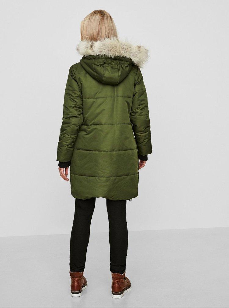 Zelená prešívaná zimná tehotenská bunda Mama.licious