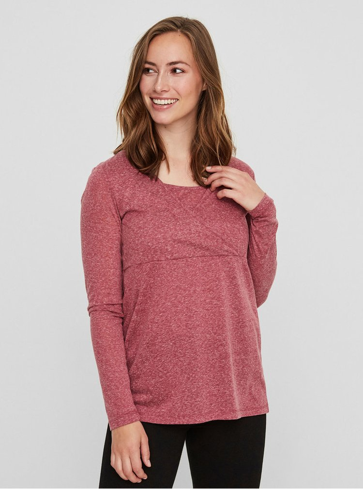 Vínové žíhané kojicí tričko Mama.licious
