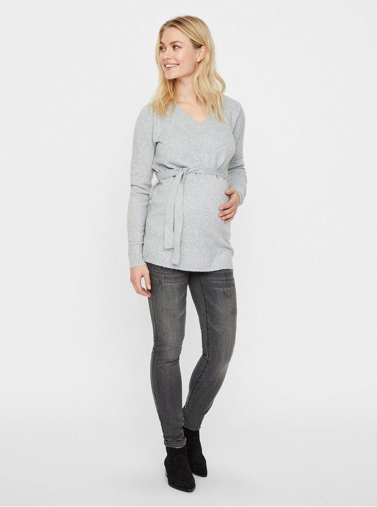 Světle šedý těhotenský lehký svetr s páskem Mama.licious