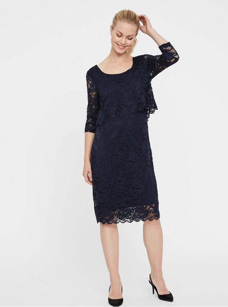 Tmavě modré krajkové těhotenské/kojicí šaty s 3/4 rukávy Mama.licious Mivane