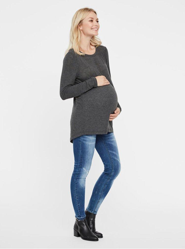 Tmavosivé tehotenské tričko s čipkovaným detailom Mama.licious Selia