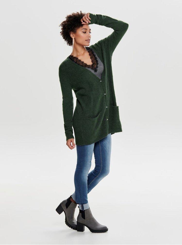 Tmavě zelený prodloužený kardigan s příměsí vlny Jacqueline de Yong Indiana