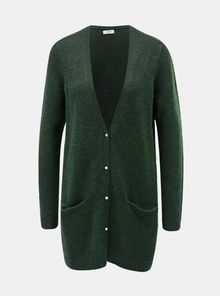 Cardigan lung verde inchis cu amestec de lana Jacqueline de Yong Indiana