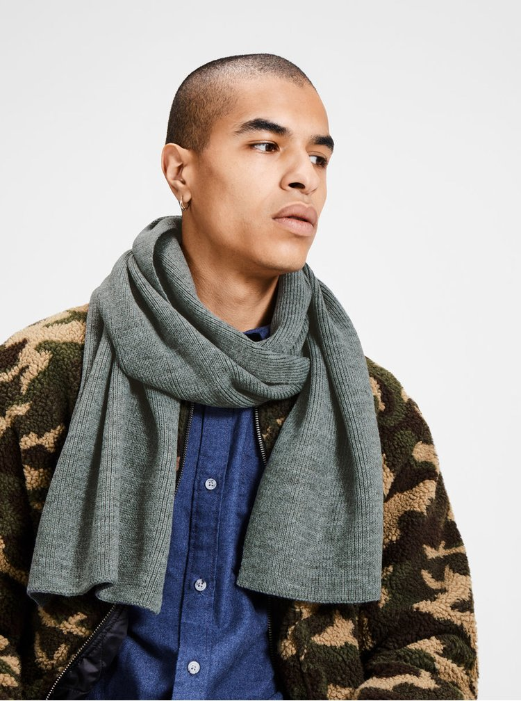 Fular gri tricotat pentru barbati - Jack & Jones Dna