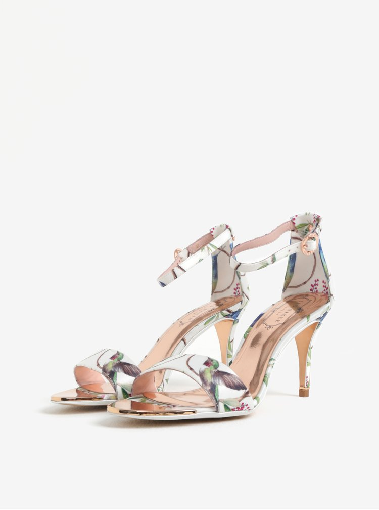 Sandale albe cu toc si print floral Ted Baker Mavbe