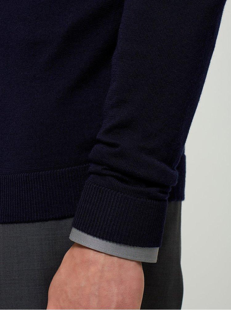 Pulover bleumarin din lana merino -  Selected Homme Tower