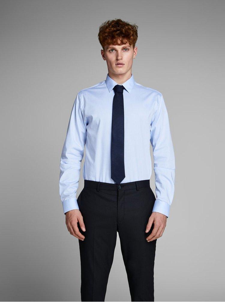 Tmavomodrá hodvábna kravata s jemným vzorom Jack & Jones Premium Colombia