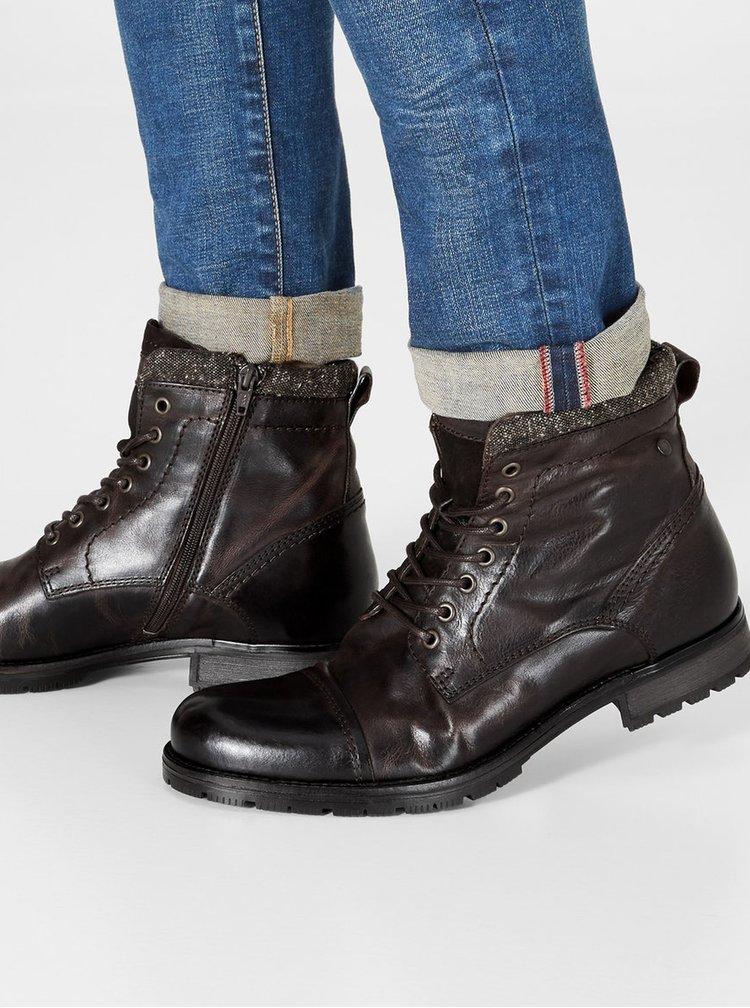 Tmavě hnědé pánské kožené kotníkové boty se zipem Jack & Jones Marly