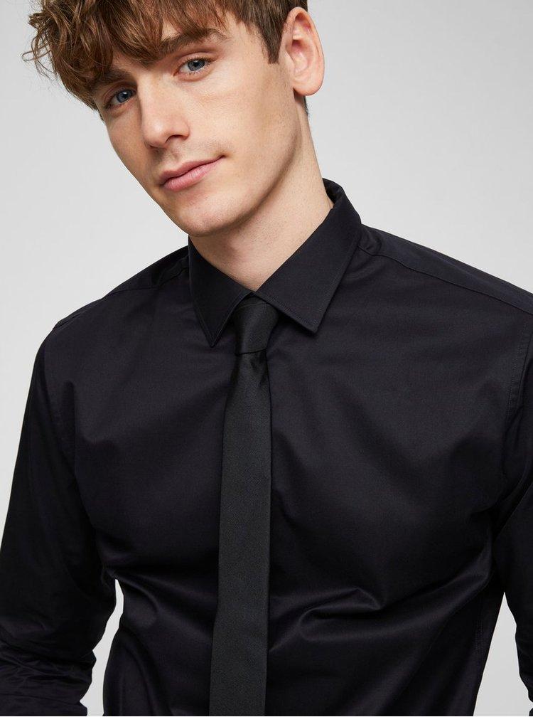 Cravata neagra din matase - Selected Homme Plain