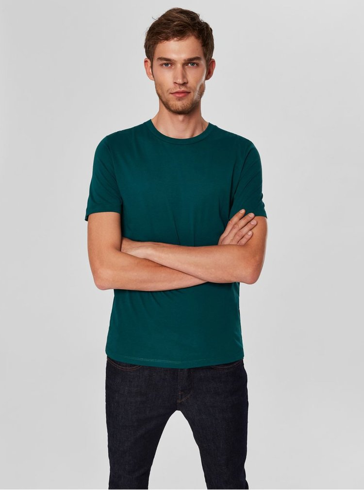 Tricou basic verde inchis cu maneci scurte Selected Homme Perfect