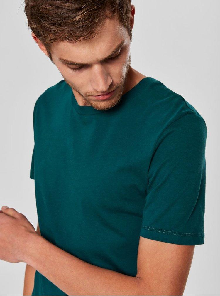 Tmavozelené basic tričko s krátkym rukávom Selected Homme Perfect