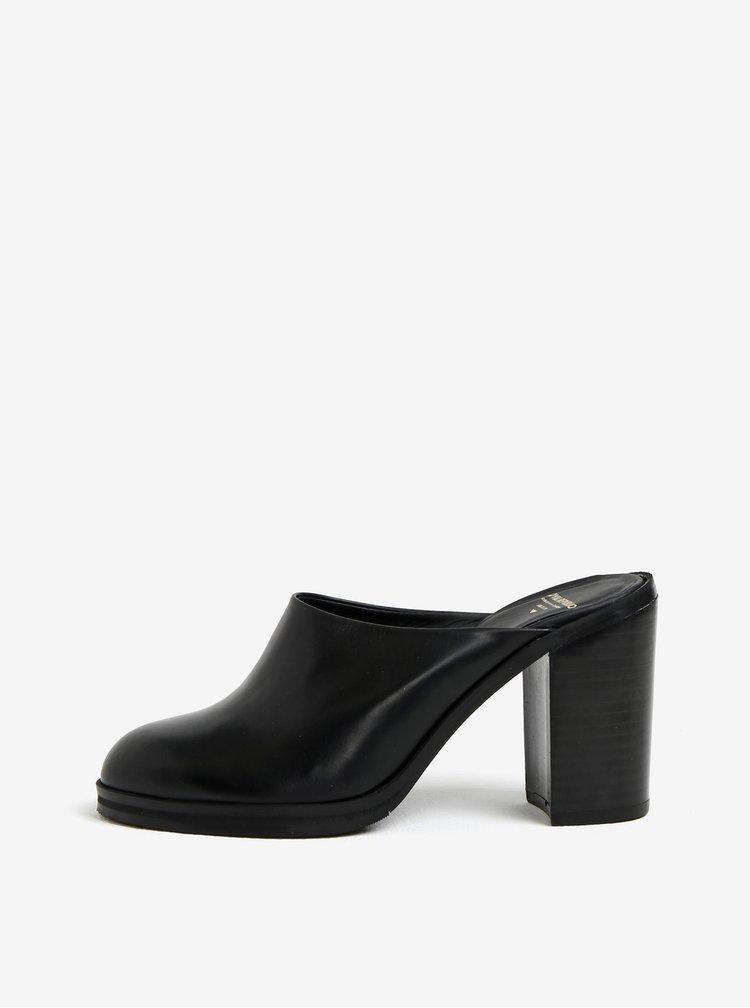 Černé dámské kožené pantofle na podpatku Royal RepubliQ