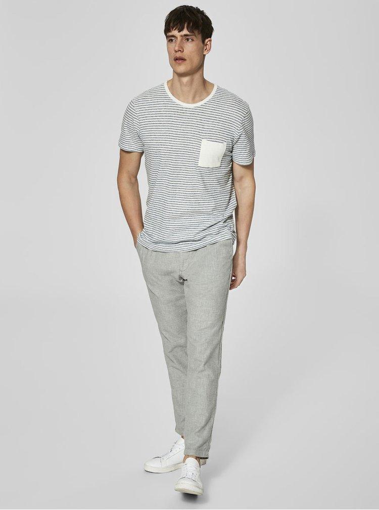 Pantaloni din bumbac gri deschis cu model discret - Selected Homme Duke