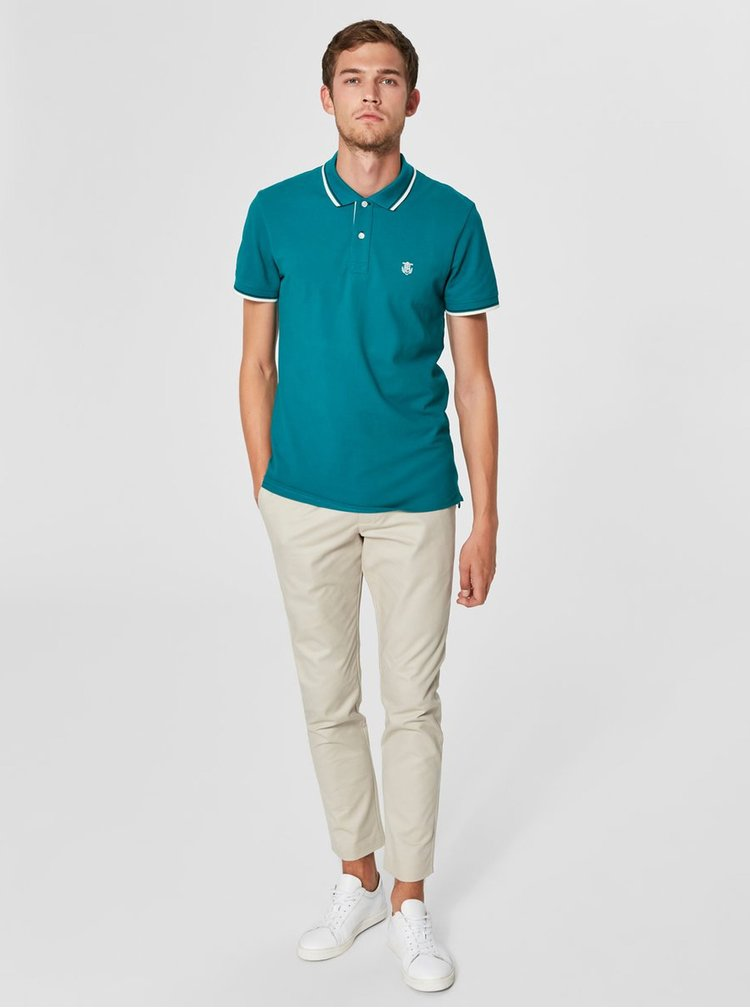Tricou polo verde Selected Homme Season