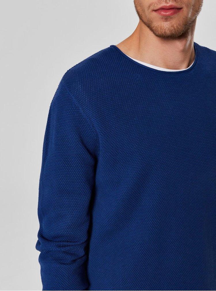 Tmavě modrý basic svetr s dlouhým rukávem Selected Homme Rocky