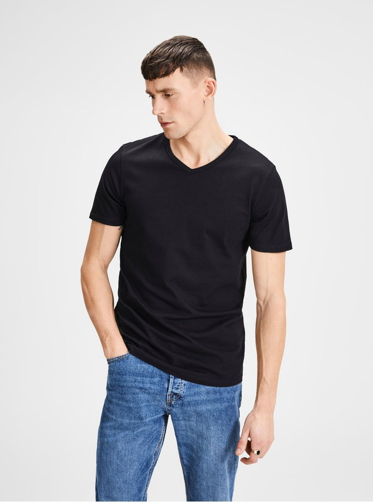 Set de 2 tricou basic negru cu decolteu in V Jack & Jones