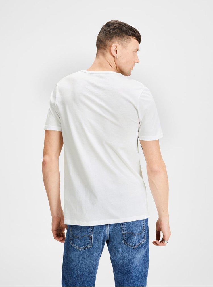 Balenie dvoch bielych basic tričiek s véčkovým výstrihom Jack & Jones