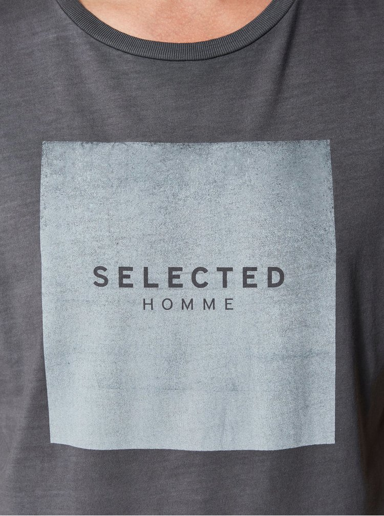 Tricou gri cu print Selected Homme