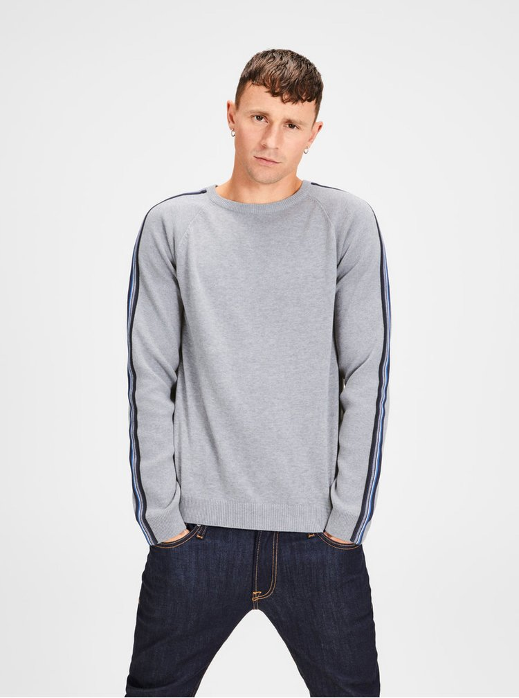 Pulover gri melanj cu dungi pe maneci Jack & Jones Kreon