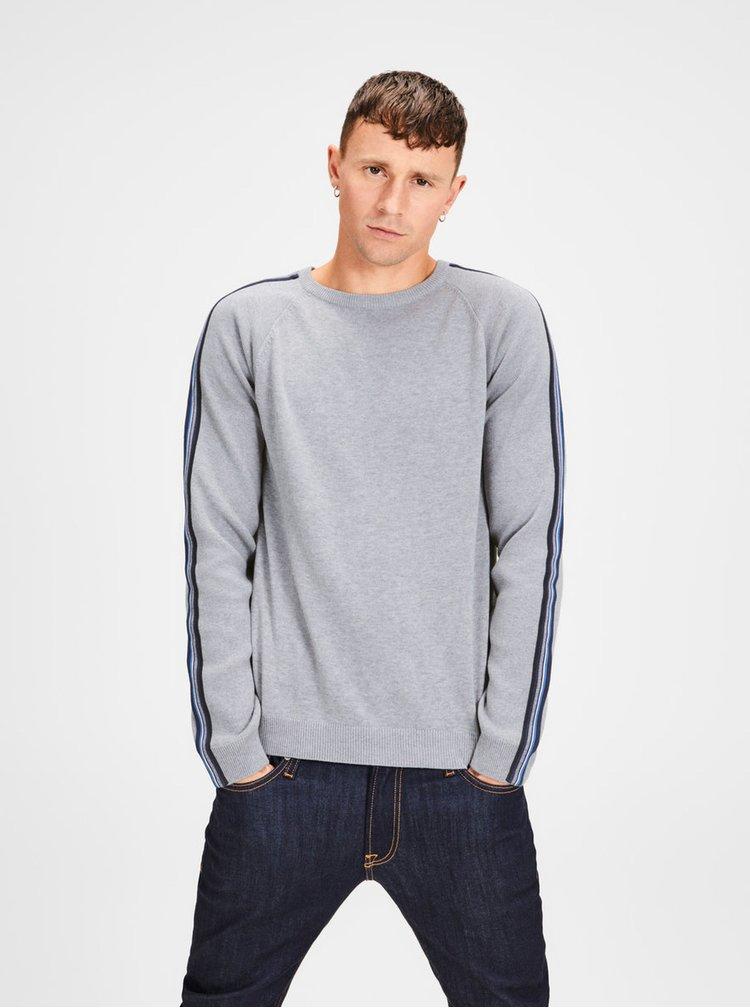 Šedý žíhaný svetr s pruhy na rukávech Jack & Jones Kreon
