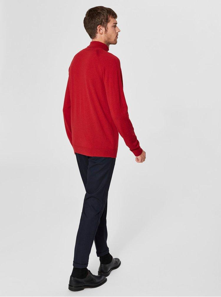 Červený rolák z merino vlny Selected Homme Newblade