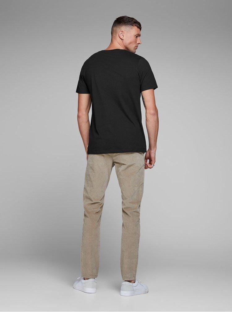 Čierne basic tričko s náprsným vreckom Jack & Jones