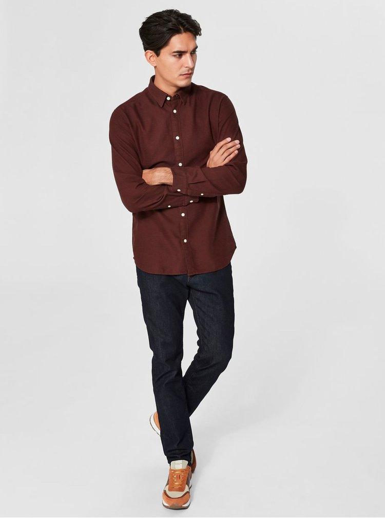 Hnedá slim fit košeľa s dlhým rukávom Selected Homme Andrew
