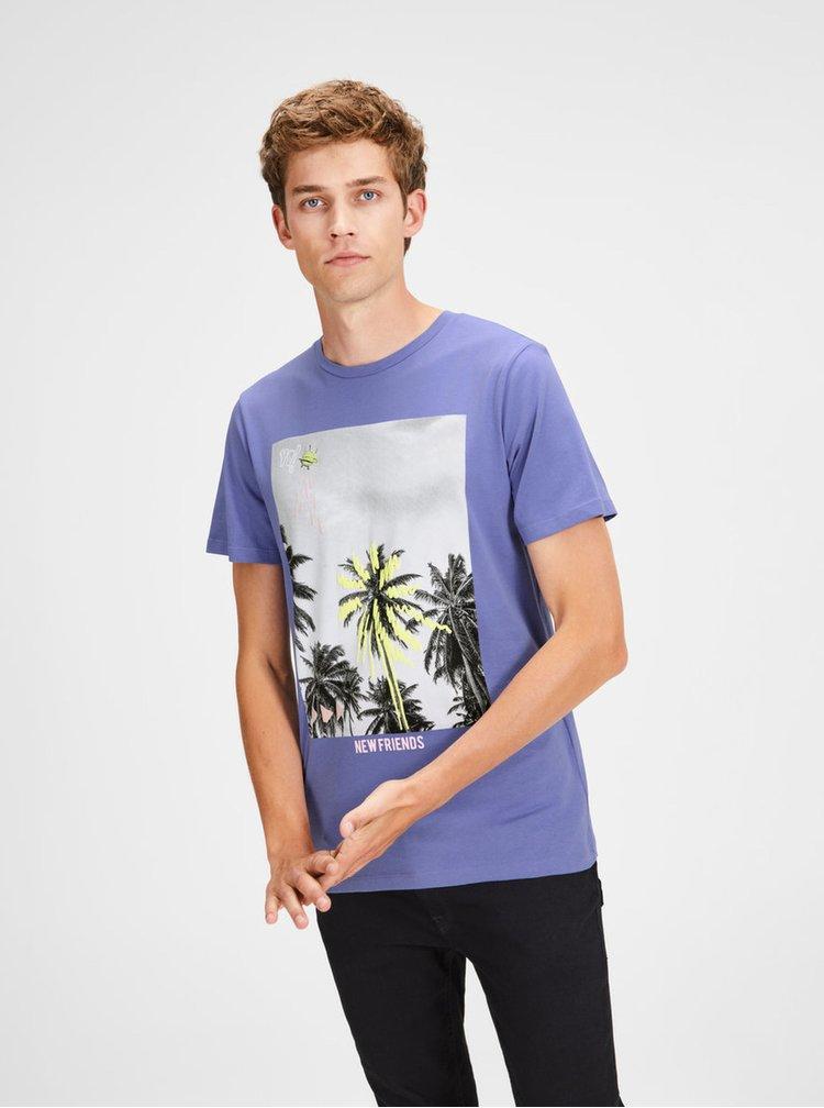 Svetlomodré slim tričko s potlačou Jack & Jones Rail Road
