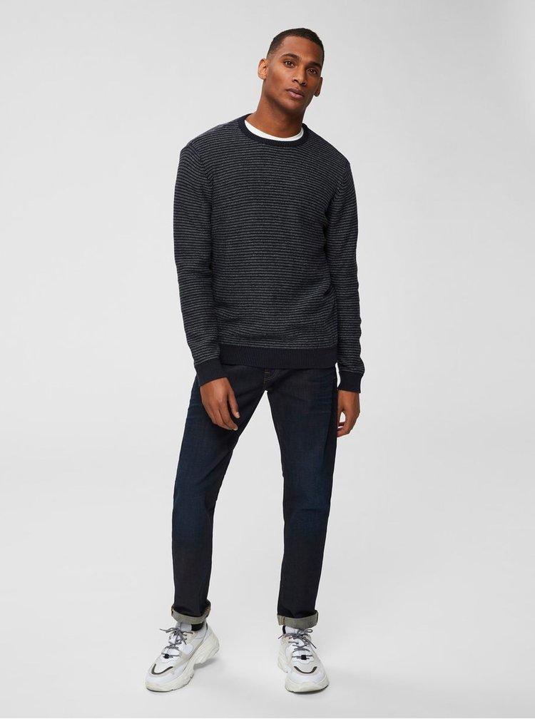 Krémovo-modrý basic svetr Selected Homme Andrew