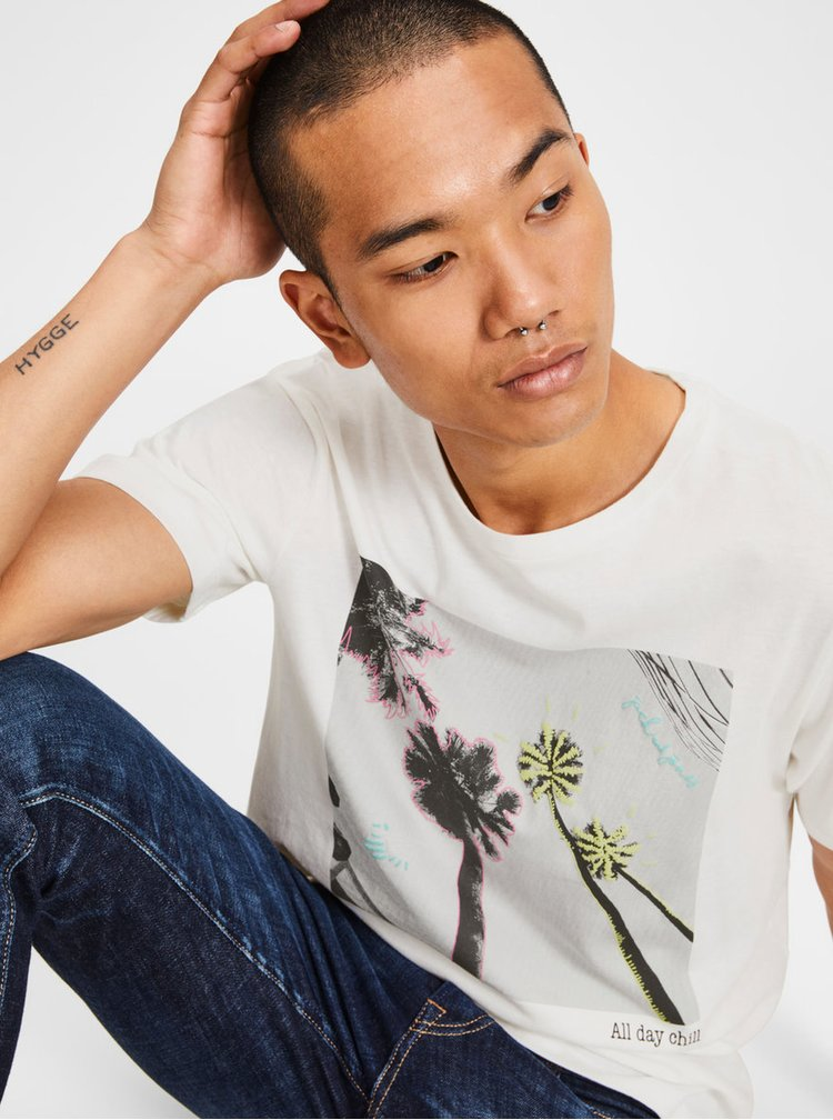 Krémové tričko s potiskem a krátkým rukávem Jack & Jones Collage
