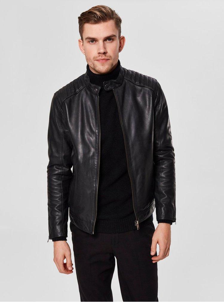 Černá kožená bunda se zipy na rukávech Selected Homme