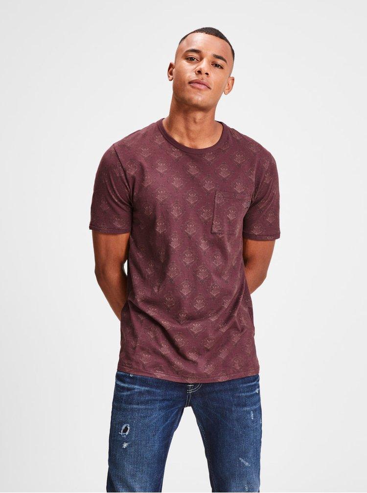 Vínové kvetované slim fit tričko s náprsným vreckom Jack & Jones Terry