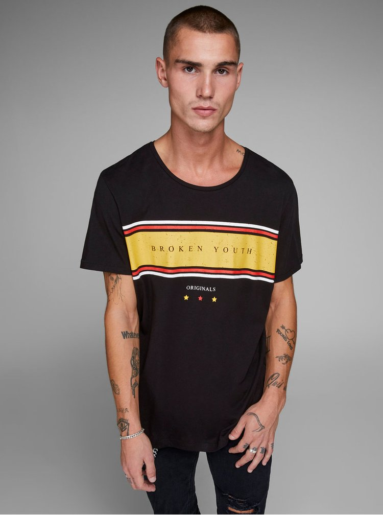 Černé tričko s potiskem Jack & Jones Down Tee