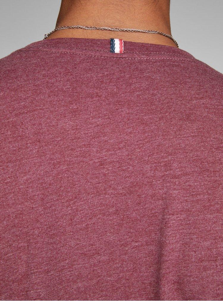Vínové žíhané tričko s potiskem Jack & Jones Izzle Tee